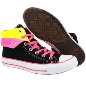 Converse All Star Black Neon Two Fold Hi-Top Shoes